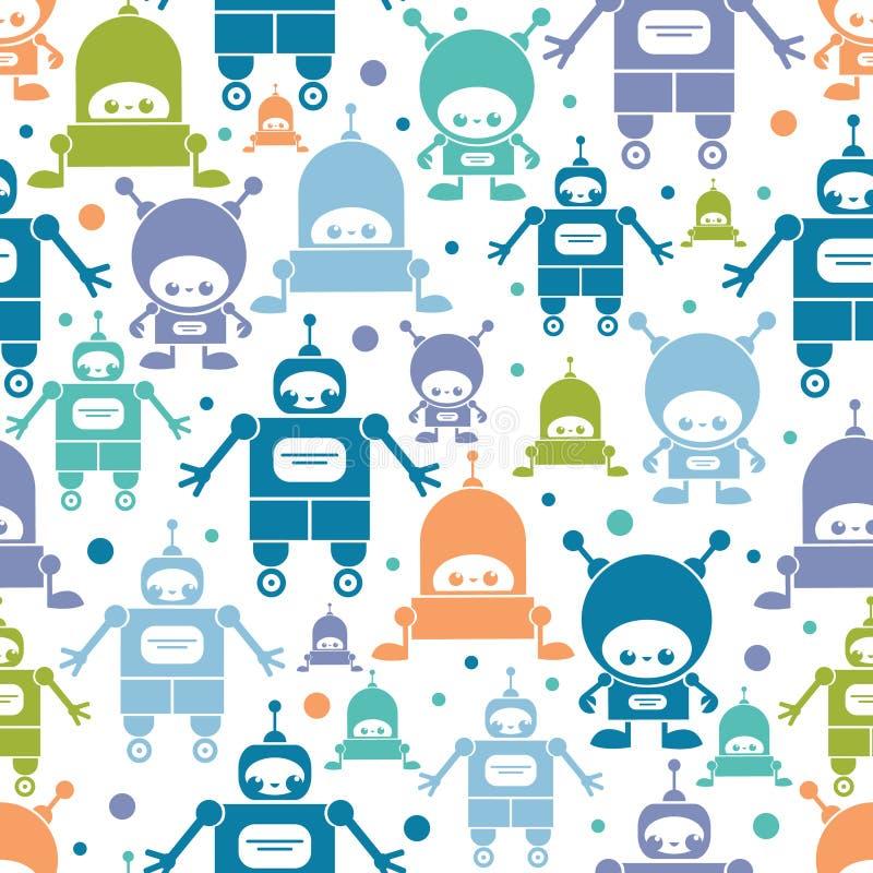 逗人喜爱的五颜六色的动画片机器人无缝的样式 库存例证