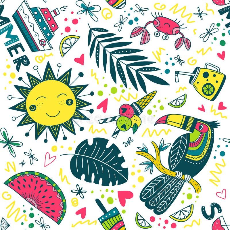 逗人喜爱的五颜六色的夏天热带样式 向量例证