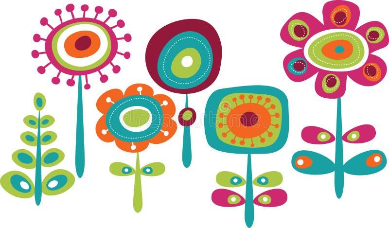 逗人喜爱的五颜六色的夏天花 库存例证