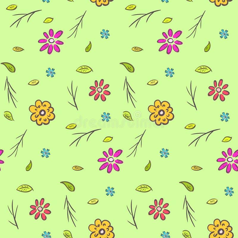 逗人喜爱的五颜六色的天真手拉的花卉样式 皇族释放例证