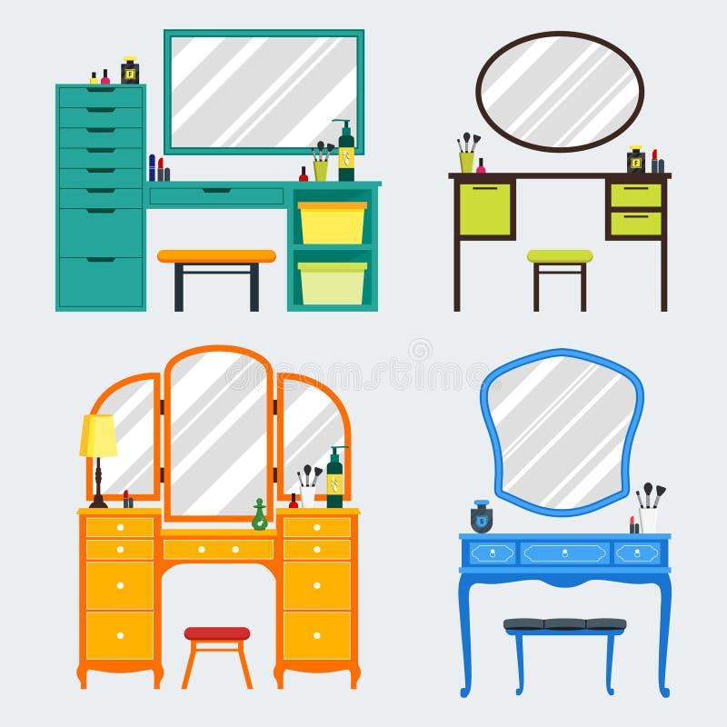 逗人喜爱的五颜六色的套与女孩的事的平的梳妆台 库存例证