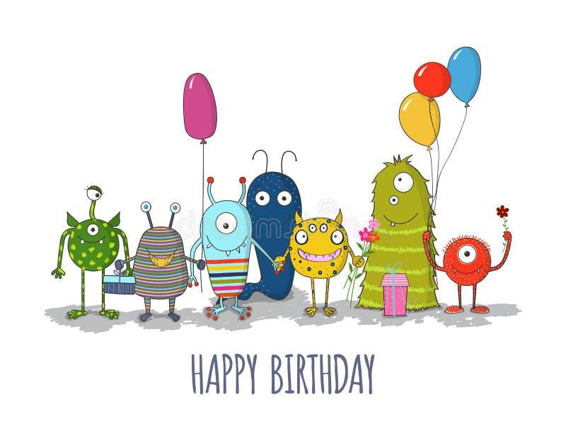 逗人喜爱的五颜六色的妖怪生日快乐卡片 EPS10 向量例证
