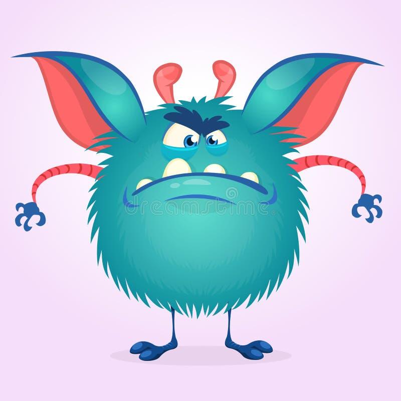 逗人喜爱的五颜六色的恼怒的动画片妖怪 传染媒介肥胖妖怪字符 万圣夜设计 向量例证
