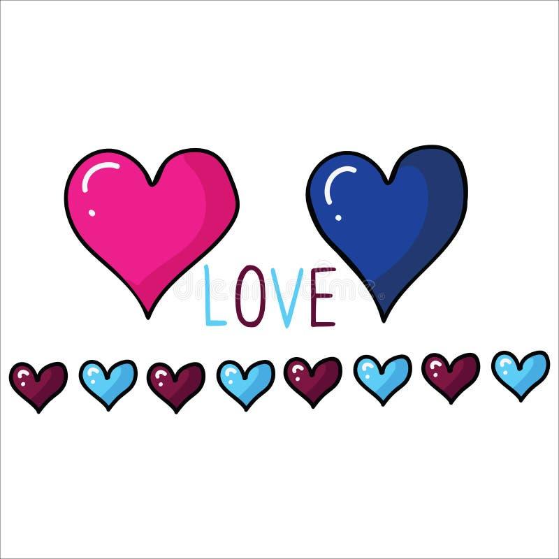 逗人喜爱的五颜六色的情人节心脏设置与边界动画片传染媒介例证主题集合 手拉的被隔绝的浪漫夫妇 向量例证