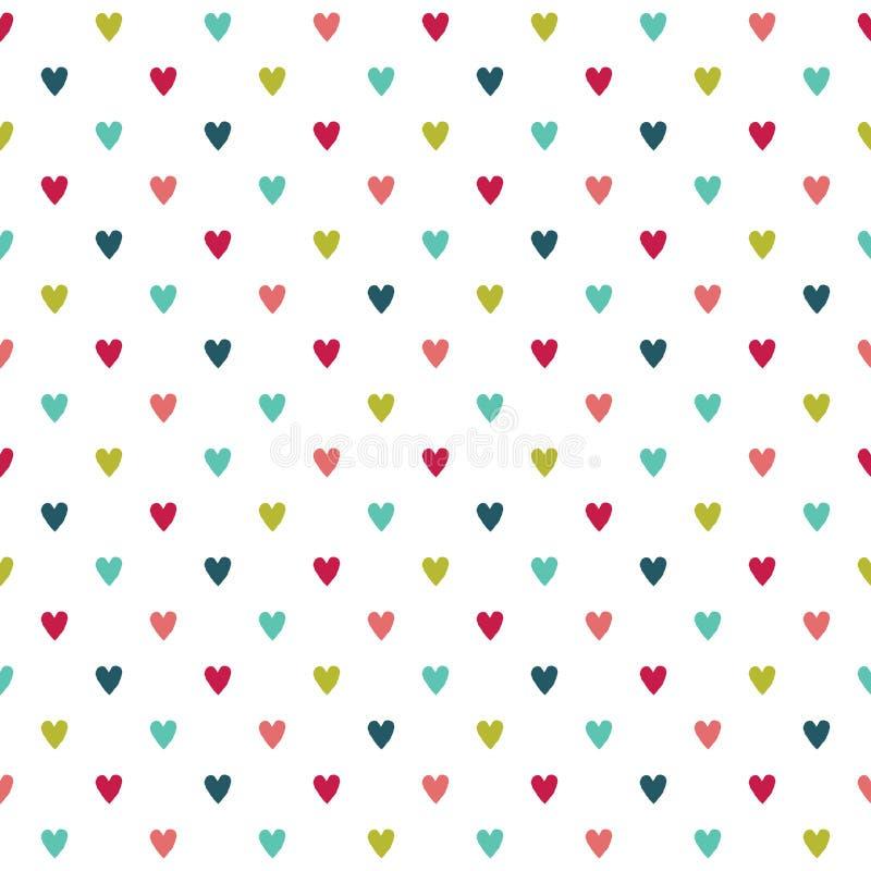 逗人喜爱的五颜六色的无缝的假日心脏背景 库存例证