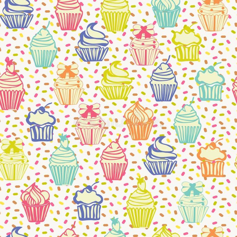 逗人喜爱的五颜六色的无缝的样式有杯形蛋糕背景 向量例证