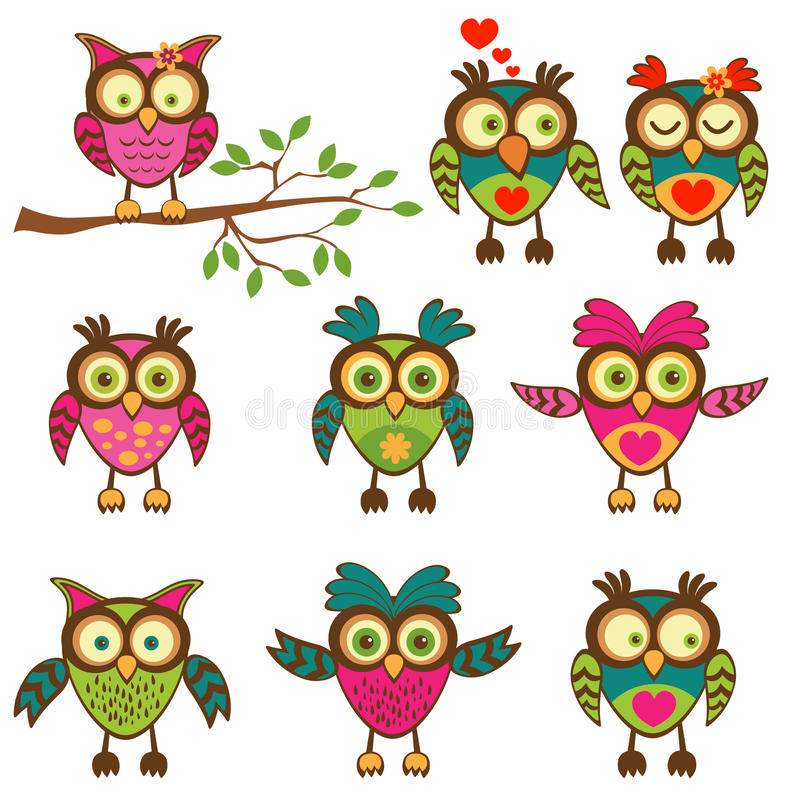 逗人喜爱的五颜六色的猫头鹰收藏 库存例证