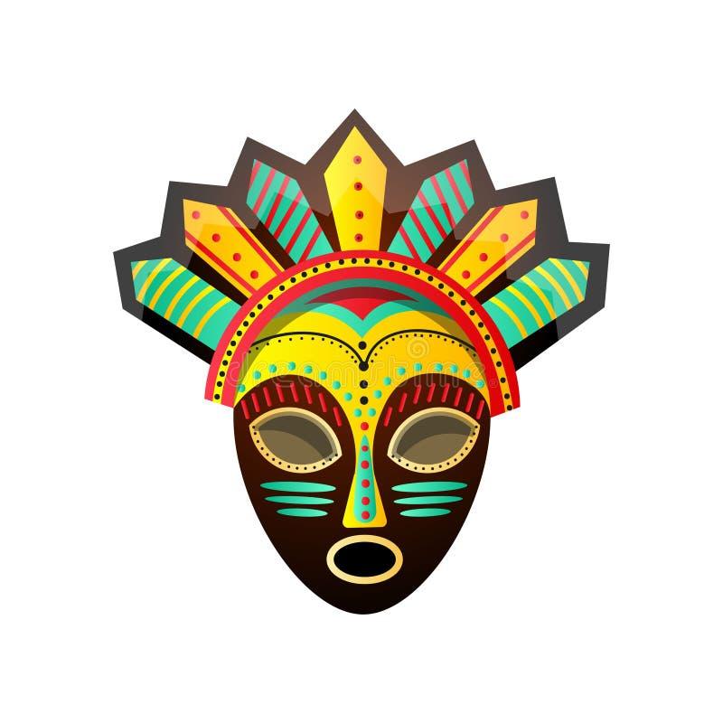 逗人喜爱的五颜六色的礼节非洲面具,与红色,绿色,黄色颜色 库存例证