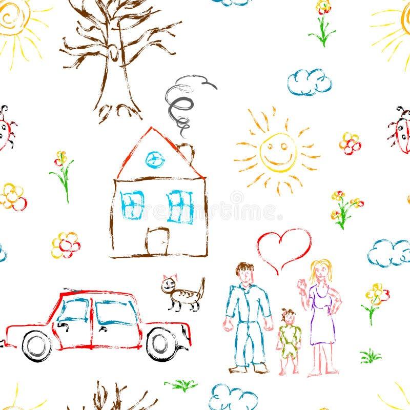 逗人喜爱的五颜六色的象家庭、花、房子、草、树、太阳和猫,在白色的无缝的样式的儿童手拉的对象 皇族释放例证