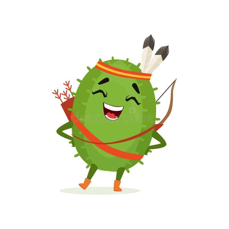 逗人喜爱的仙人掌在羽毛头饰的当地美洲印第安人,滑稽的植物字符与弓箭动画片传染媒介的 库存例证
