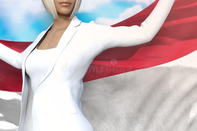 逗人喜爱的企业夫人在手上拿着摩纳哥旗子在她的在天空蔚蓝背景的后面后-旗子概念3d例证 皇族释放例证