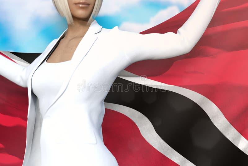 逗人喜爱的企业夫人在手上拿着特立尼达和多巴哥旗子在她的在天空蔚蓝背景的后面后-旗子概念3d 皇族释放例证