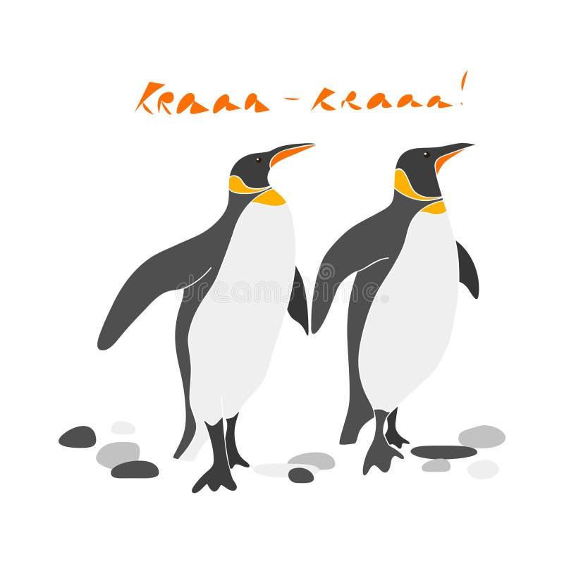 逗人喜爱的企鹅国王夫妇导航手拉的例证 皇族释放例证