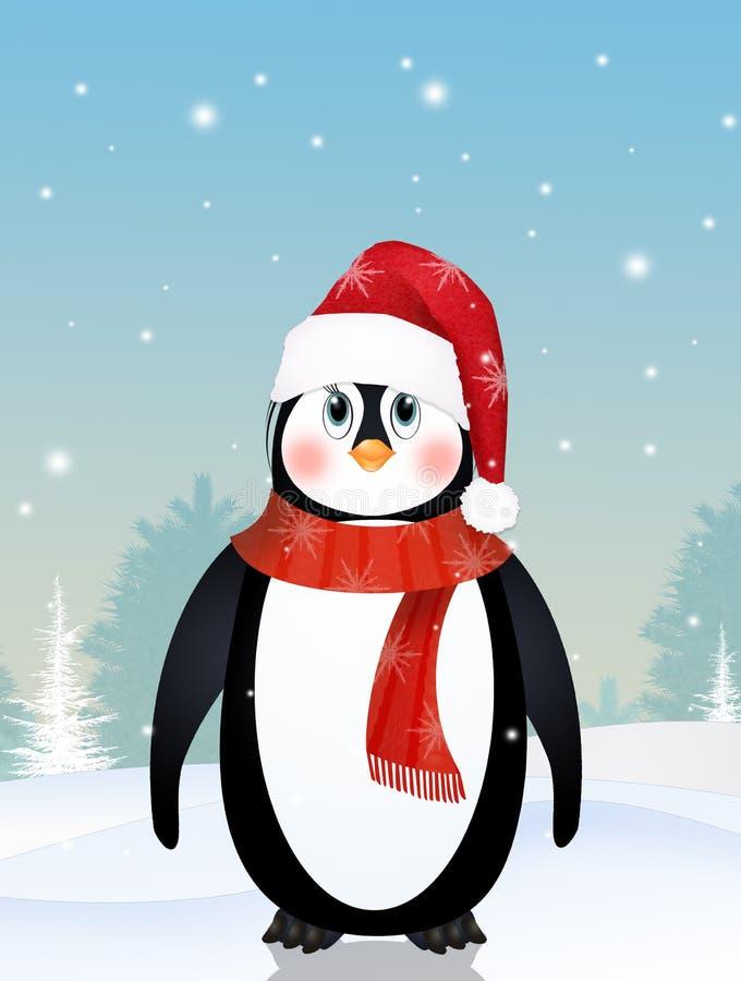逗人喜爱的企鹅在冬天 向量例证