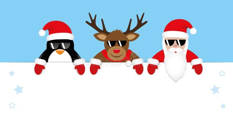 逗人喜爱的企鹅驯鹿和圣诞老人动画片与太阳镜和红色盖帽 向量例证