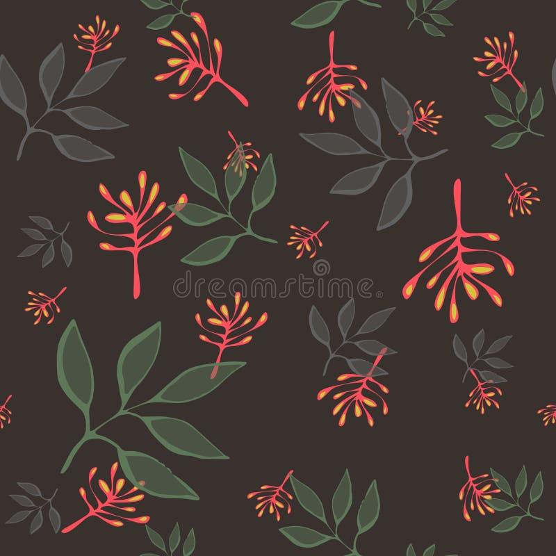 逗人喜爱的传染媒介乱画叶子无缝的样式 与叶子的抽象印刷品 织品的典雅的美丽的自然装饰品 皇族释放例证