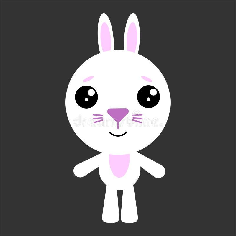 逗人喜爱的传染媒介兔子 熊猫微笑 灰色背景 平的设计 向量 皇族释放例证
