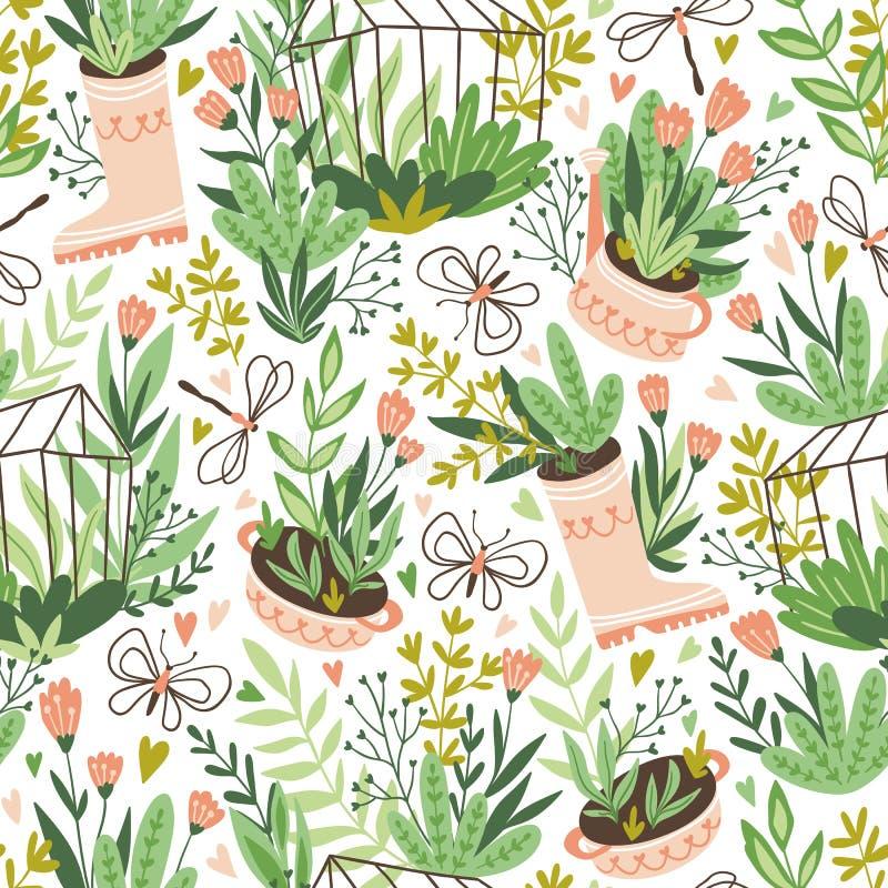 逗人喜爱的传染媒介季节性无缝的样式 生长花和植物自温室 春天不尽的庭院背景 库存例证