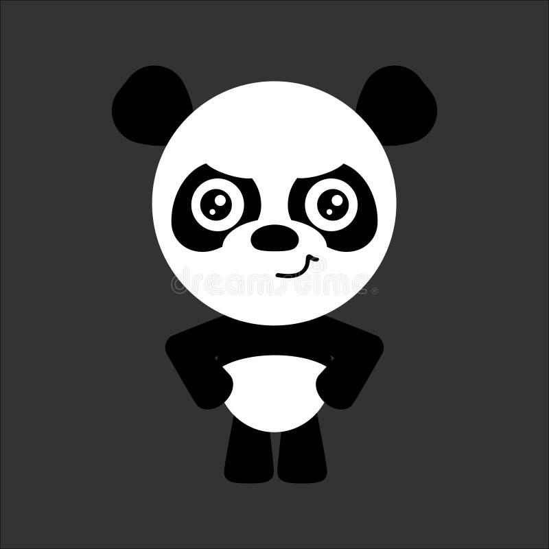 逗人喜爱的传染媒介熊猫 动画片恼怒的字符 灰色背景 平的设计 向量 皇族释放例证