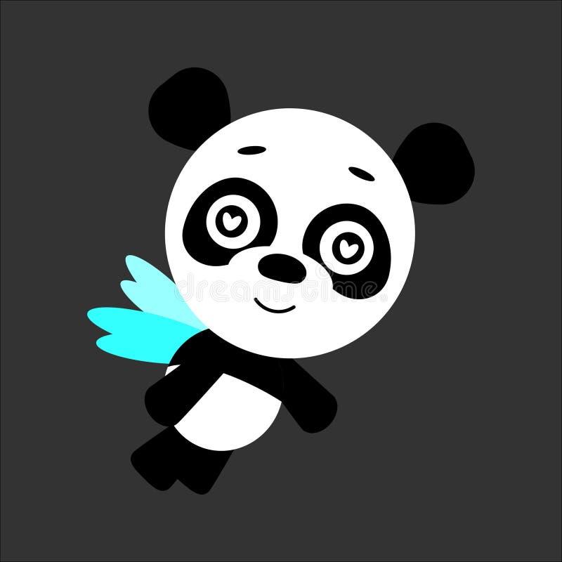 逗人喜爱的传染媒介熊猫 在爱的熊猫 灰色背景 平的设计 向量 皇族释放例证