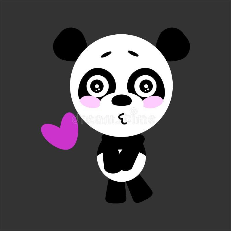 逗人喜爱的传染媒介熊猫 熊猫亲吻 灰色背景 平的设计 向量 库存例证