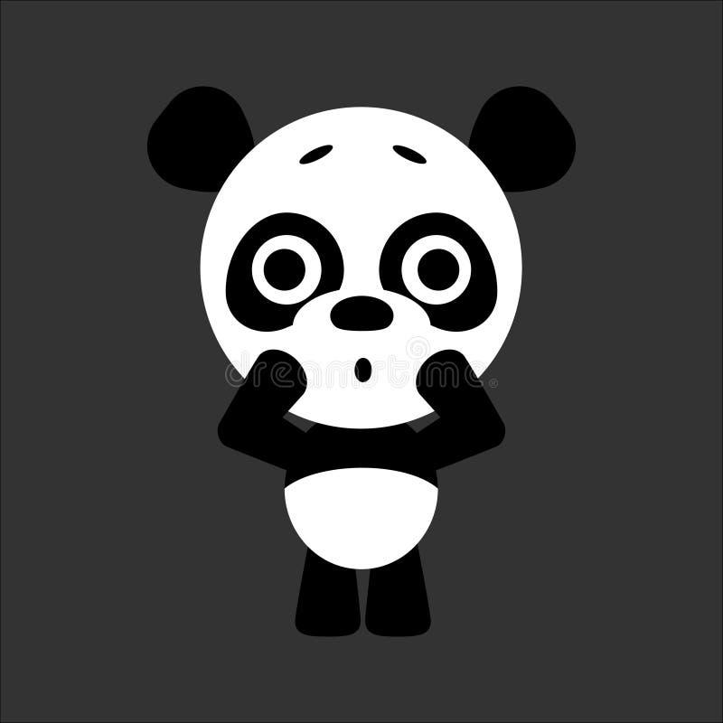 逗人喜爱的传染媒介熊猫 熊猫得到惊吓 灰色背景 平的设计 向量 向量例证