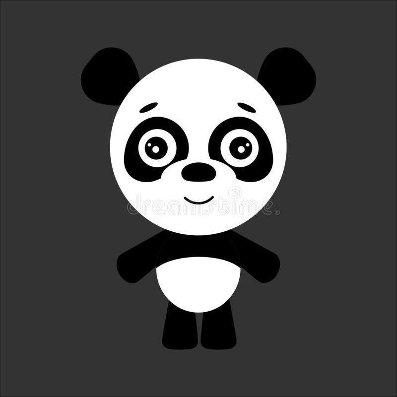 逗人喜爱的传染媒介熊猫 熊猫微笑 灰色背景 平的设计 向量 库存例证