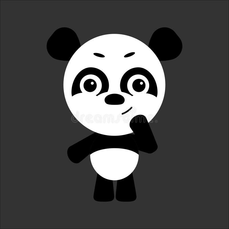 逗人喜爱的传染媒介熊猫 熊猫认为 灰色背景 平的设计 向量 皇族释放例证