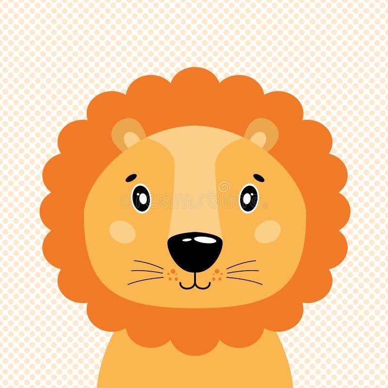 逗人喜爱的传染媒介狮子头,正面图 在圆点背景中  库存例证