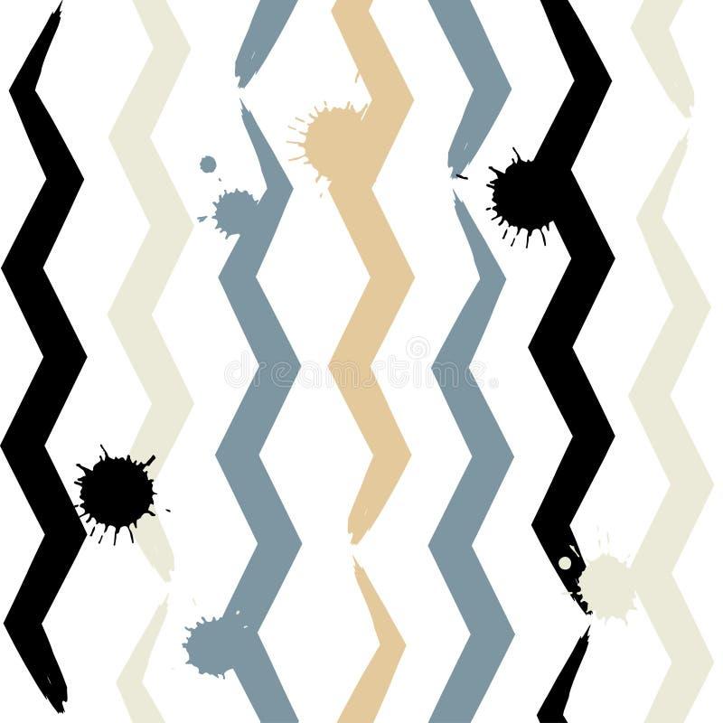 逗人喜爱的传染媒介几何无缝的样式 刷子冲程、三角和正方形 手拉的难看的东西纹理 抽象表单 库存例证