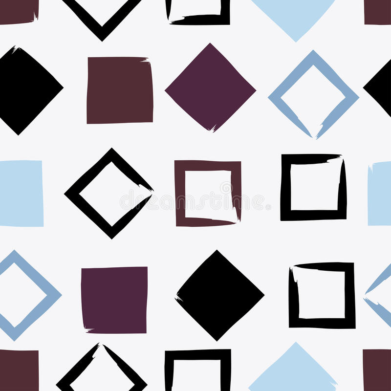逗人喜爱的传染媒介几何无缝的样式 刷子冲程、三角和正方形 手拉的难看的东西纹理 抽象表单 向量例证