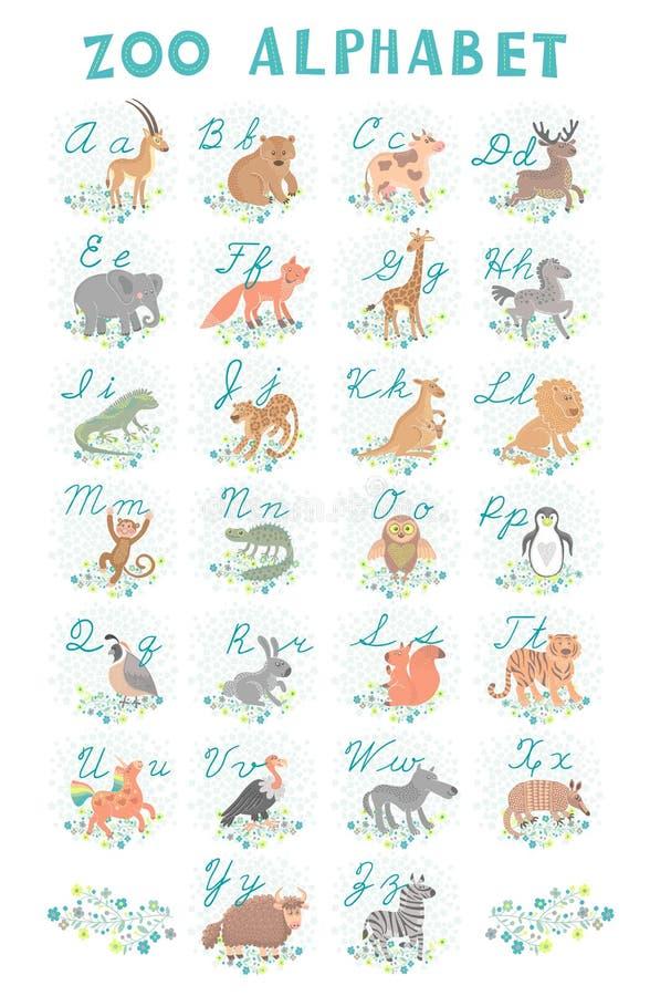 逗人喜爱的传染媒介动物园字母表 滑稽的动画片动物 信函 学会读和写 库存例证