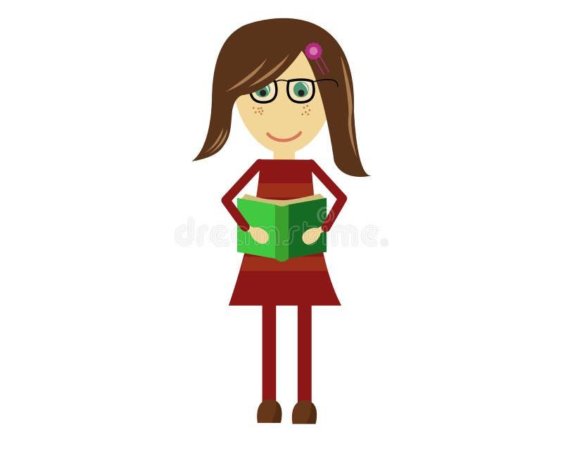逗人喜爱的传染媒介女孩阅读书 库存例证