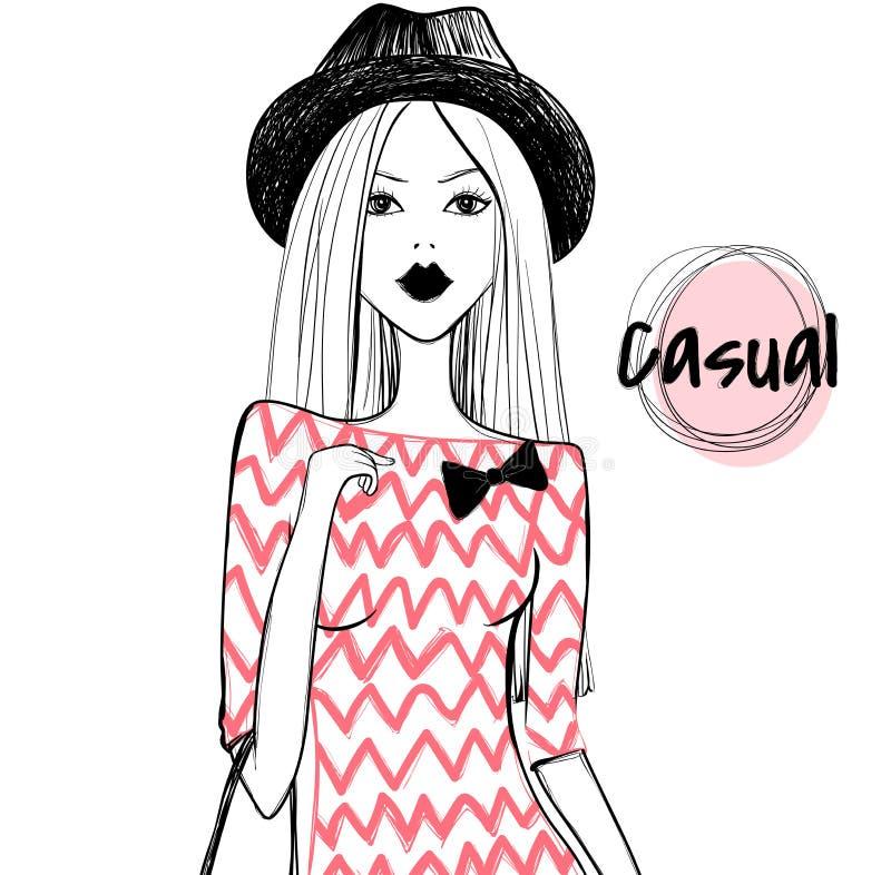 逗人喜爱的传染媒介时尚 剪影女孩 行家女孩 时尚lifestyl 向量例证
