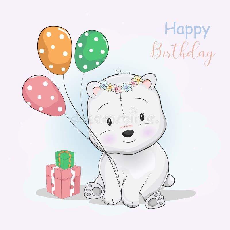 逗人喜爱的佩带花冠的动画片北极熊接受礼物和气球 皇族释放例证