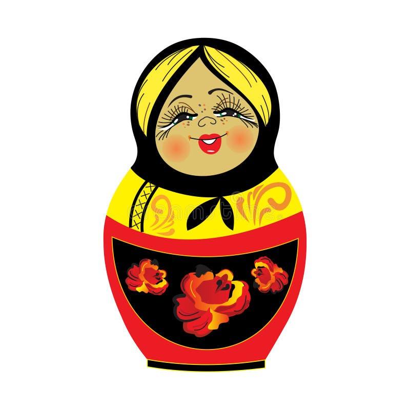 逗人喜爱的俄国传统嵌套玩偶传染媒介例证 库存例证