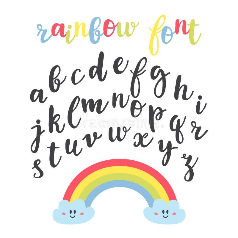 逗人喜爱的信件 手拉的书法字体 字法字母表 彩虹字体 库存例证