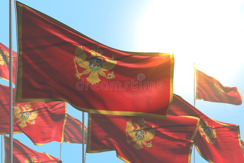 逗人喜爱的假日旗子3d例证-许多黑山旗子是在天空蔚蓝背景的波浪 库存例证