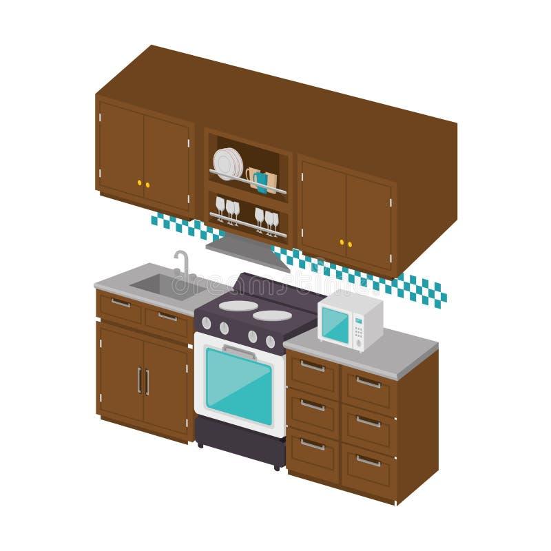 逗人喜爱的充分的厨房象 库存例证