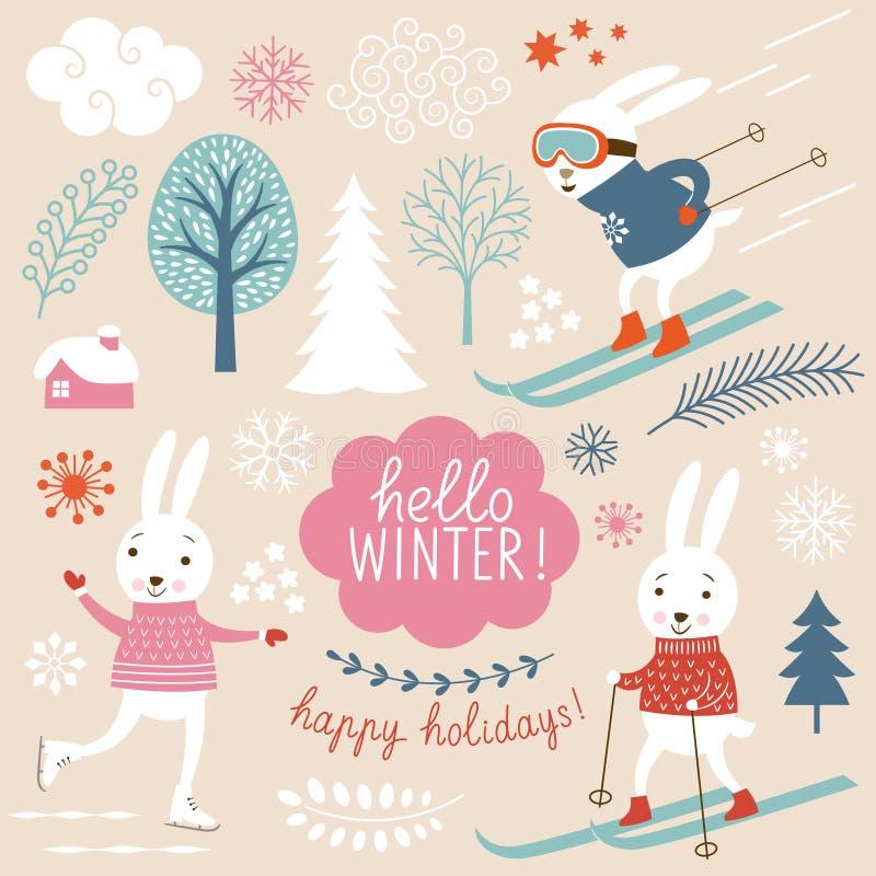 逗人喜爱的兔子和冬天grachic元素 向量例证