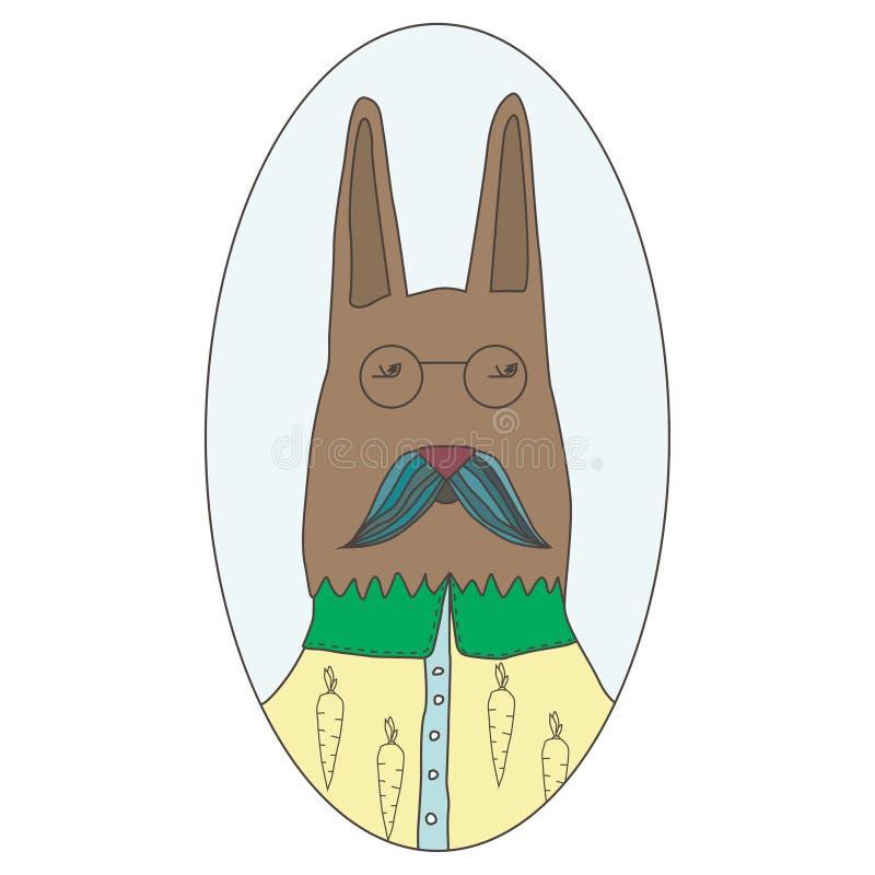 逗人喜爱的兔子滑稽的画象  在一件时兴的衬衣的聪明的野兔 隔绝在传染媒介的白色背景 向量例证