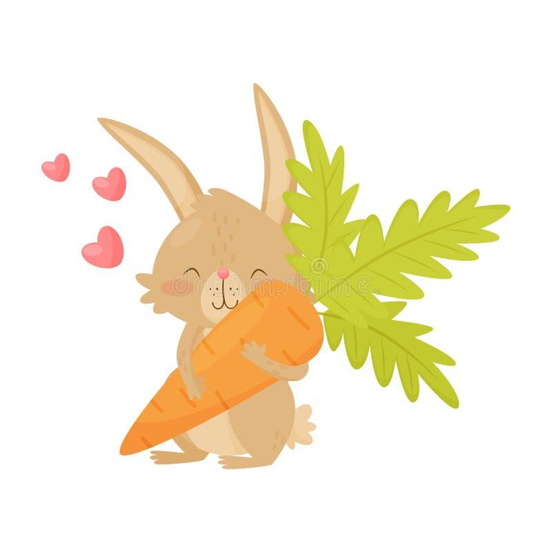 逗人喜爱的兔子用在爪子,桃红色心脏的大红萝卜在天空中 与长的耳朵和短的尾巴的布朗兔宝宝 平的传染媒介象 库存例证