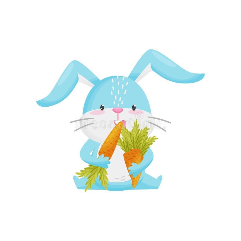 逗人喜爱的兔子用在白色背景的红萝卜 向量例证