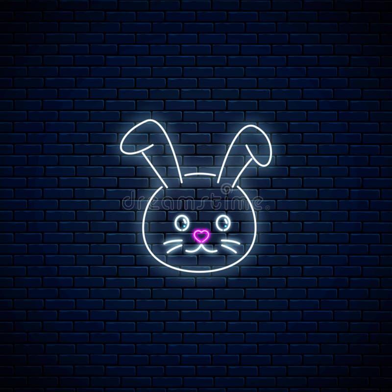 逗人喜爱的兔子的发光的霓虹灯广告在kawaii样式的在黑暗的砖墙背景 在霓虹样式的Cartoo愉快的微笑的兔宝宝 向量例证