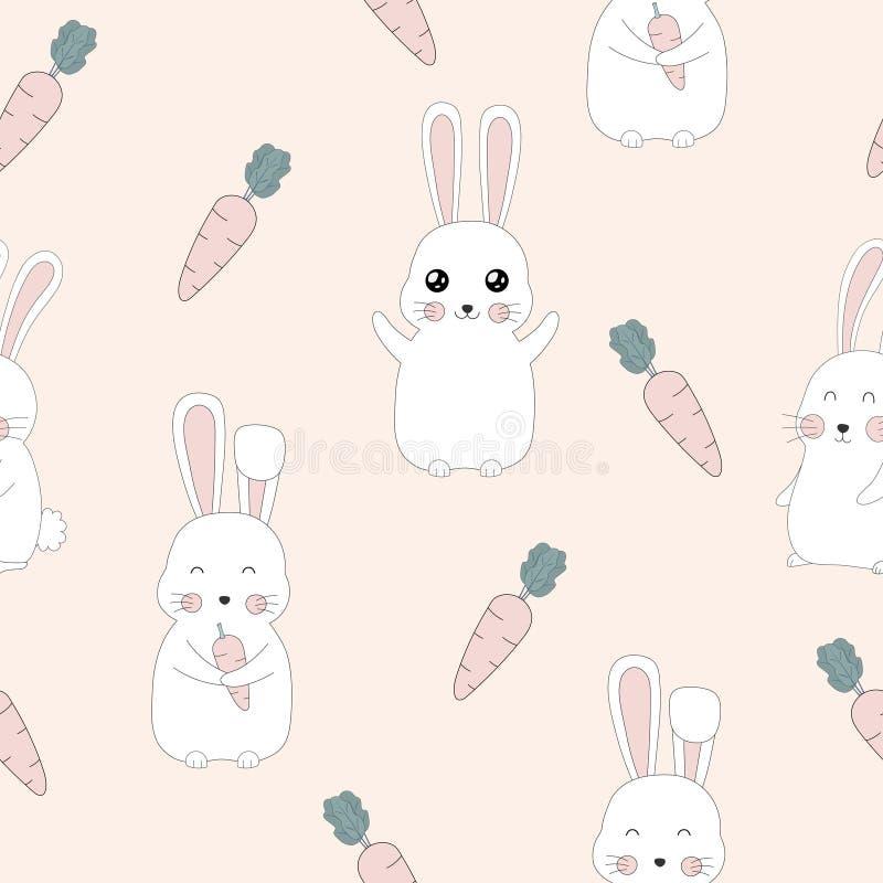 逗人喜爱的兔子的无缝的样式和红萝卜设计 库存例证