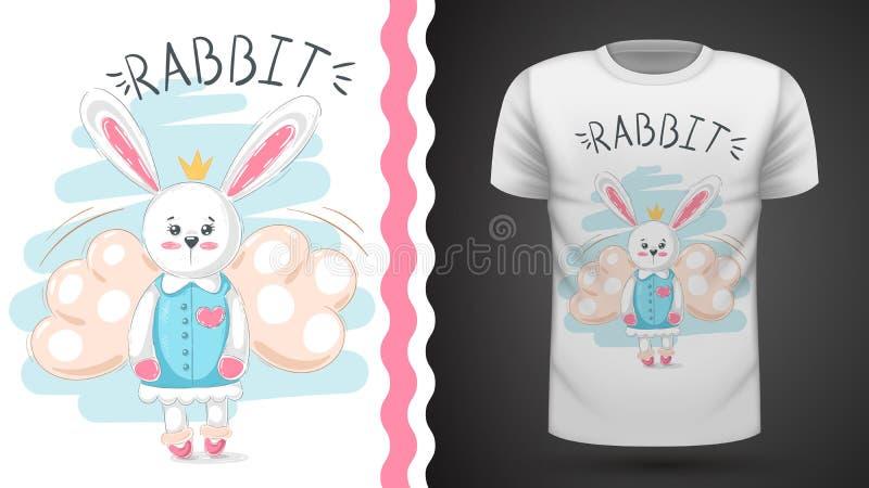 逗人喜爱的兔子-印刷品T恤杉的想法 向量例证