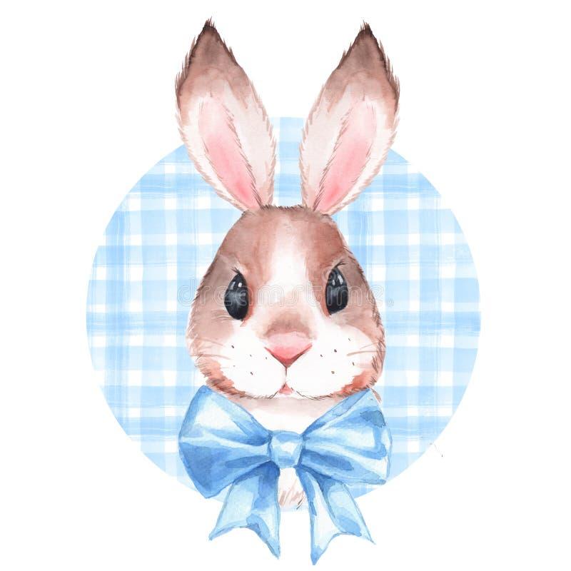 逗人喜爱的兔子 额嘴装饰飞行例证图象其纸部分燕子水彩 向量例证