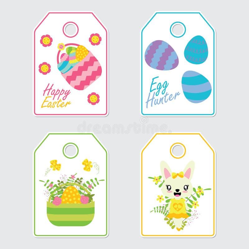 逗人喜爱的兔宝宝、花和五颜六色的蛋传染媒介动画片例证复活节礼物标记的设计 皇族释放例证