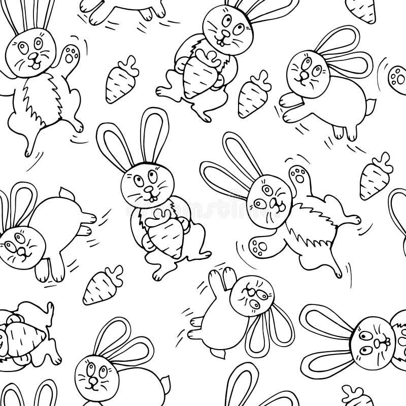 逗人喜爱的兔宝宝无缝的印刷品  向量例证