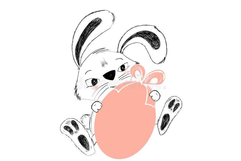 逗人喜爱的兔宝宝用礼物的桃红色复活节彩蛋手拉在黑白 库存例证
